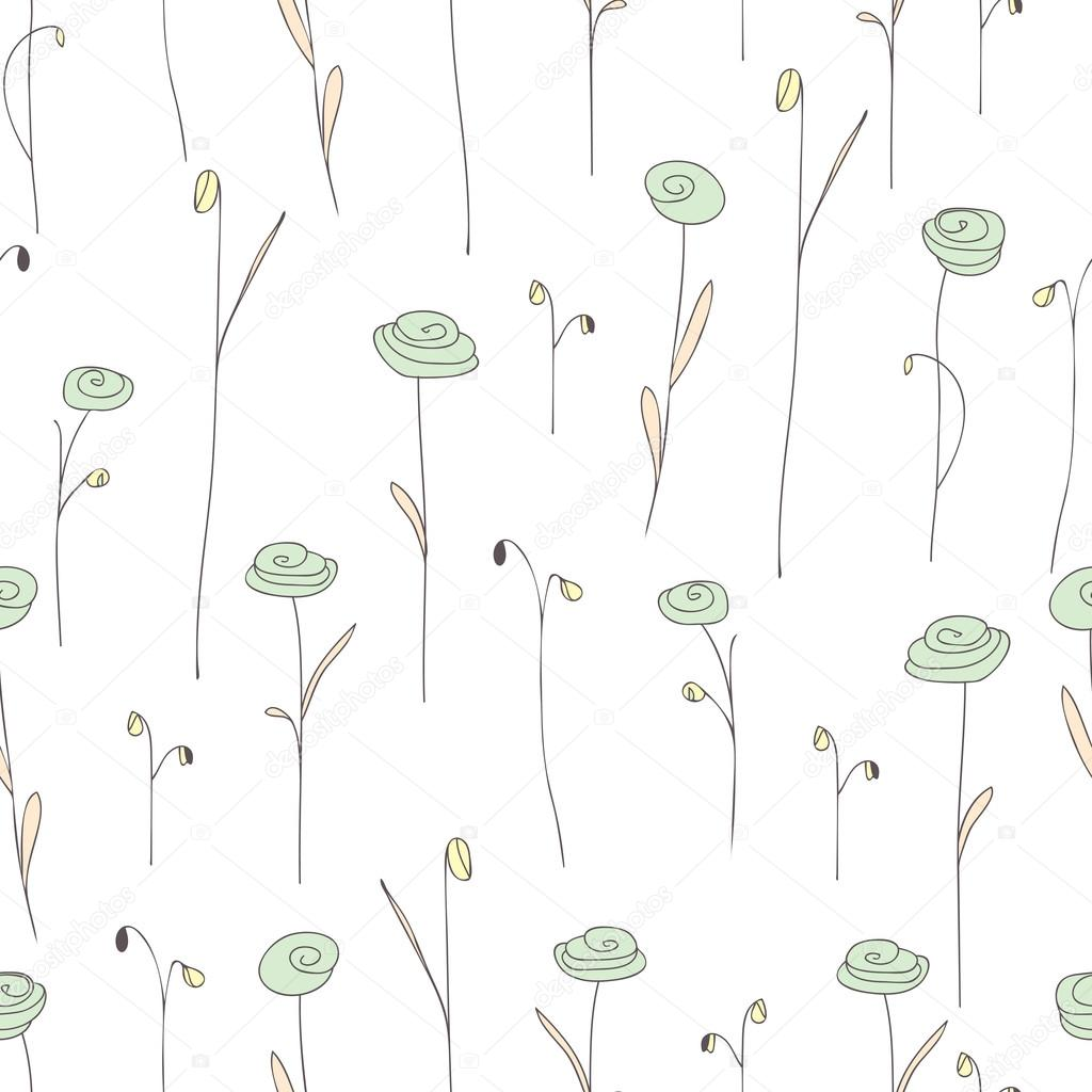 Seamless Pattern With Cute Light Green Flowers White