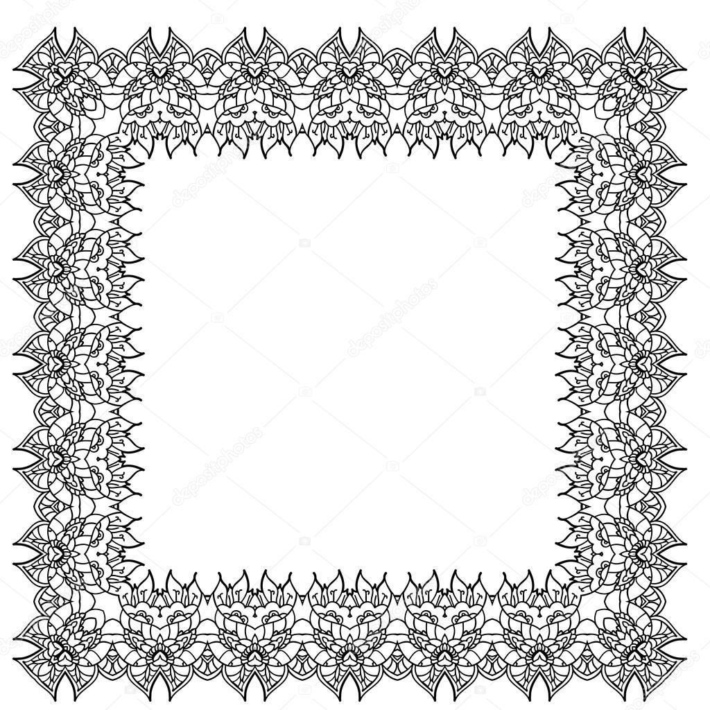 Marco en blanco y negro vector ornamental — Vector de stock ...