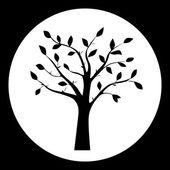 Černá a bílá vektorové ilustrace siluety stromů v rámu kola