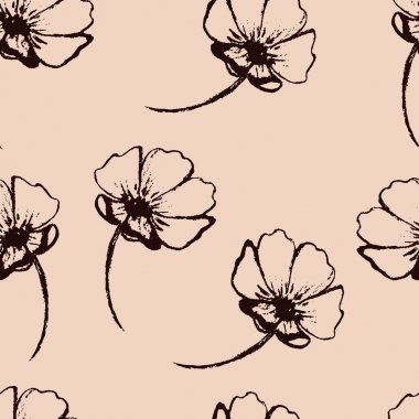 Vintage creamy vector seamless pattern with hand-drawn flowers clip art vector