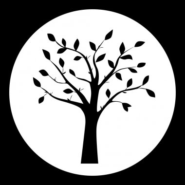 Black and white vector illustration of tree silhouette in the round frame