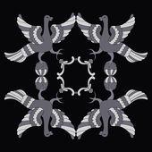 Ornamental vector illustration of mythological birds. Gray birds on the black background. Monochrome style. Folkloric motive. Fairy tales, stories, myths and legends decoration.