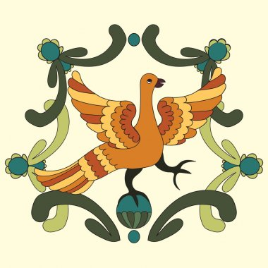 Ornamental vector illustration of mythological bird. Folkloric motive. Fairy tales, stories, myths and legends decoration.