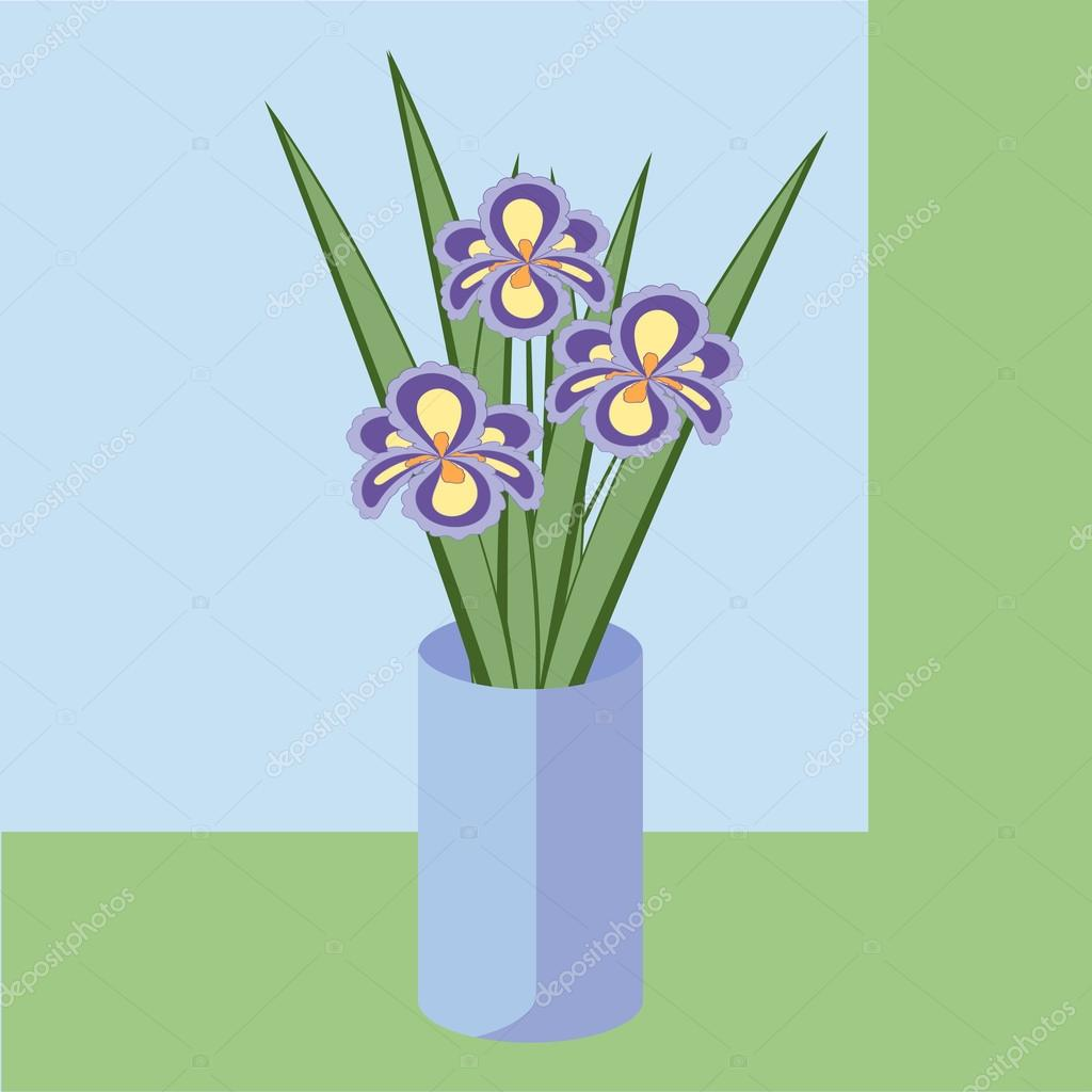 Vector illustration of bouquet of iris flowers. Card of purple abstract flowers with leaves in blue vase.