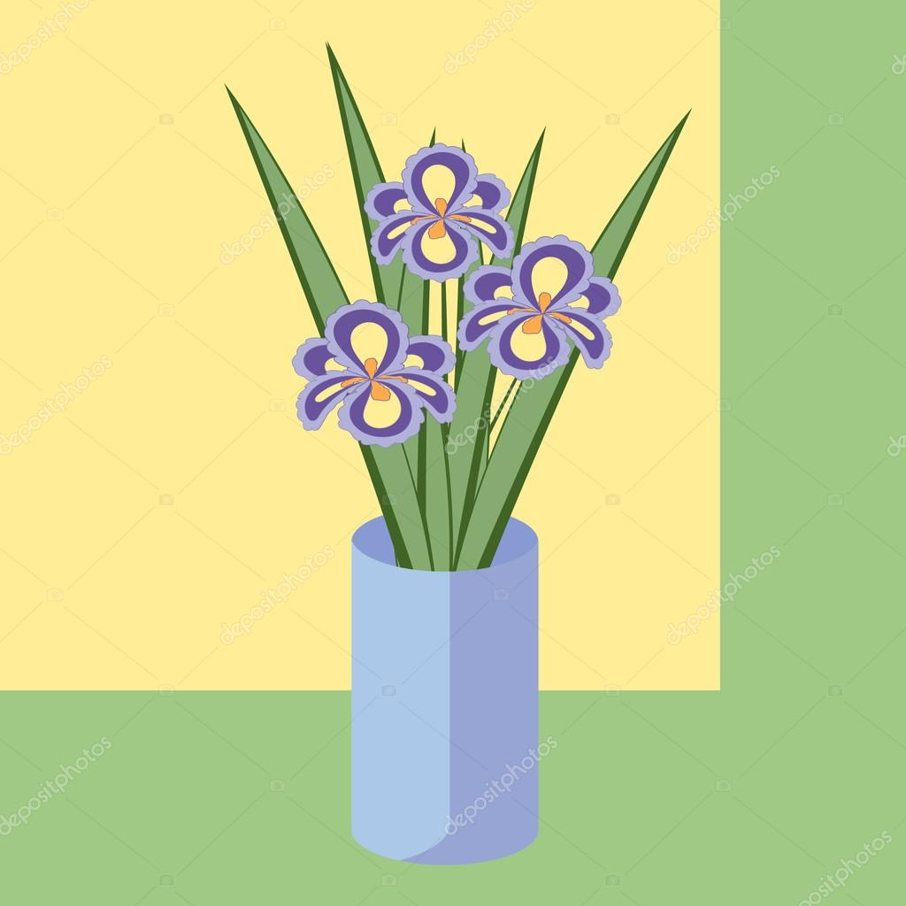 Vector Illustration Of Bouquet Of Iris Flowers Card Of Purple