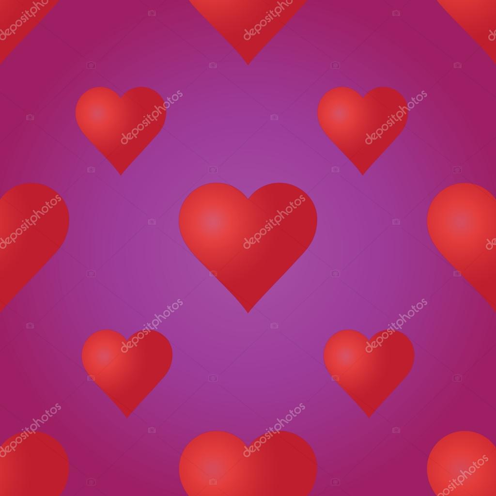 Vektor nahtlose Muster mit roten Herzen auf dem lila Hintergrund ...
