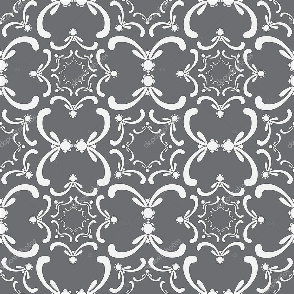 Ornamental Seamless Pattern Vintage Template Curve White Elements On The Gray Background Filigree
