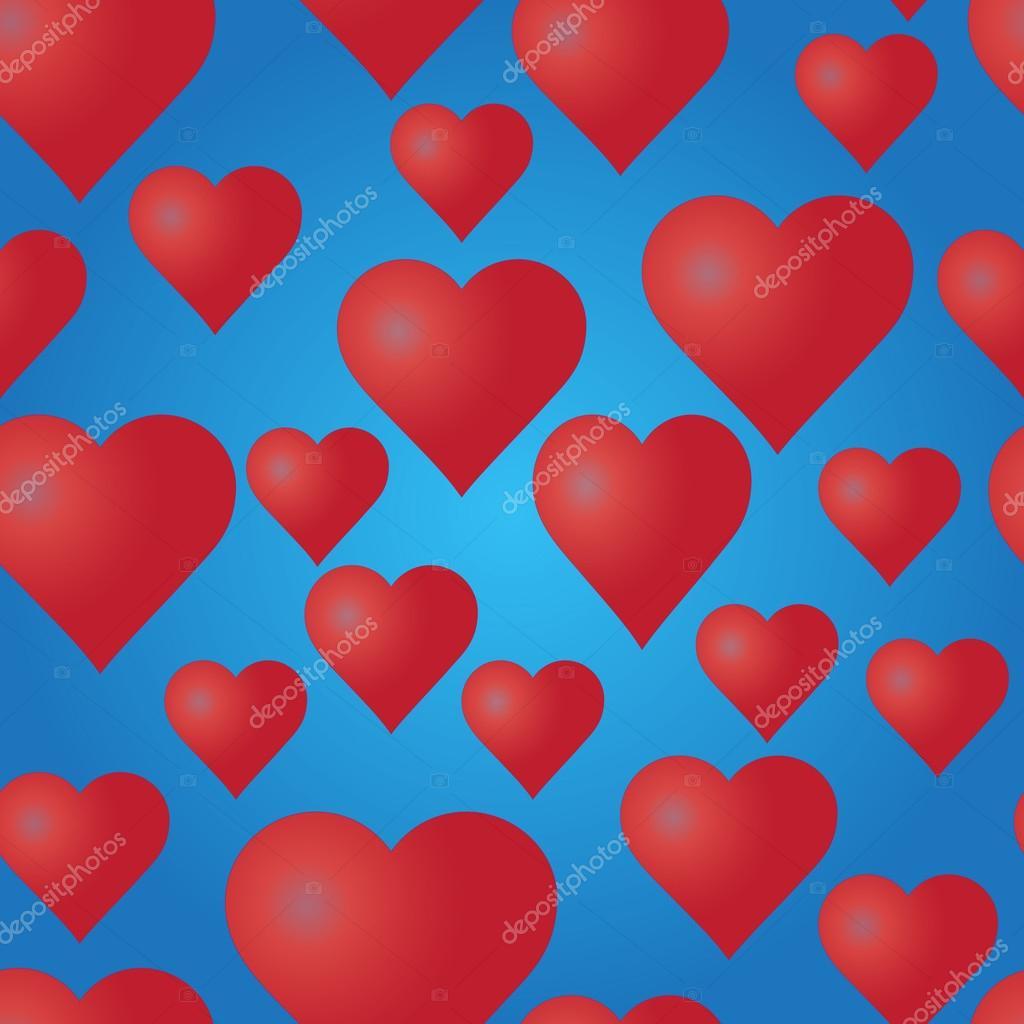 Vektor nahtlose Muster mit roten Herzen auf blauem Hintergrund ...