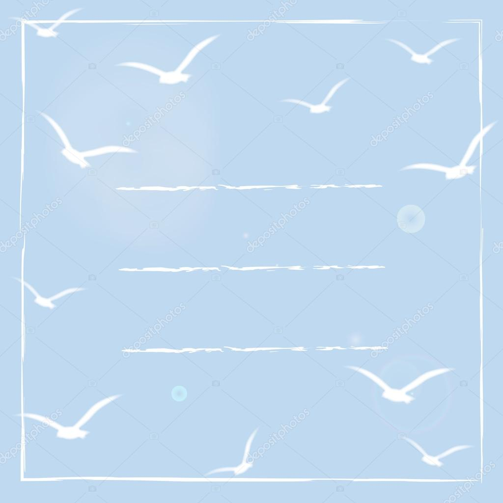 Greeting card with white birds silhouettes on blue sunny sky. Light vintage background. Square frame with space for text. Vector illustration. Template frame design for invitation card for wedding.