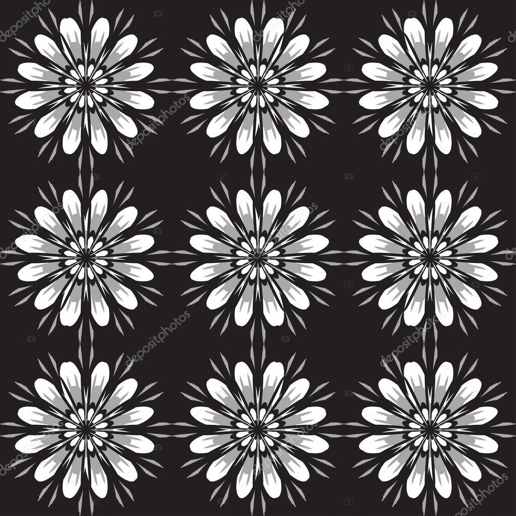 Seamless pattern with flowers vintage texture monochrome backdrop seamless pattern with flowers vintage texture monochrome backdrop gray and white daisies black background vector illustration sshisshka vektr mightylinksfo