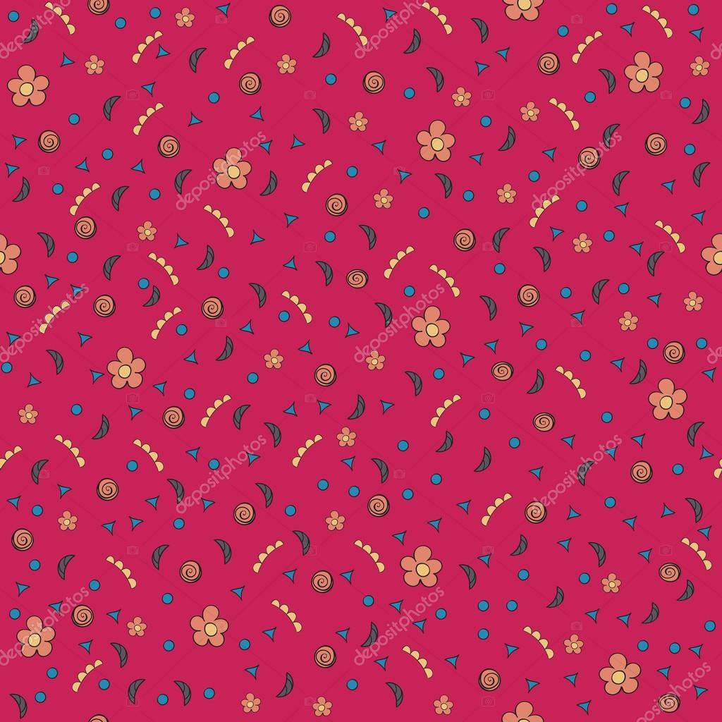 Cute tiny flowers and elements. Seamless pattern. Vintage red background. Floral texture. Bright backdrop. Vector illustration.