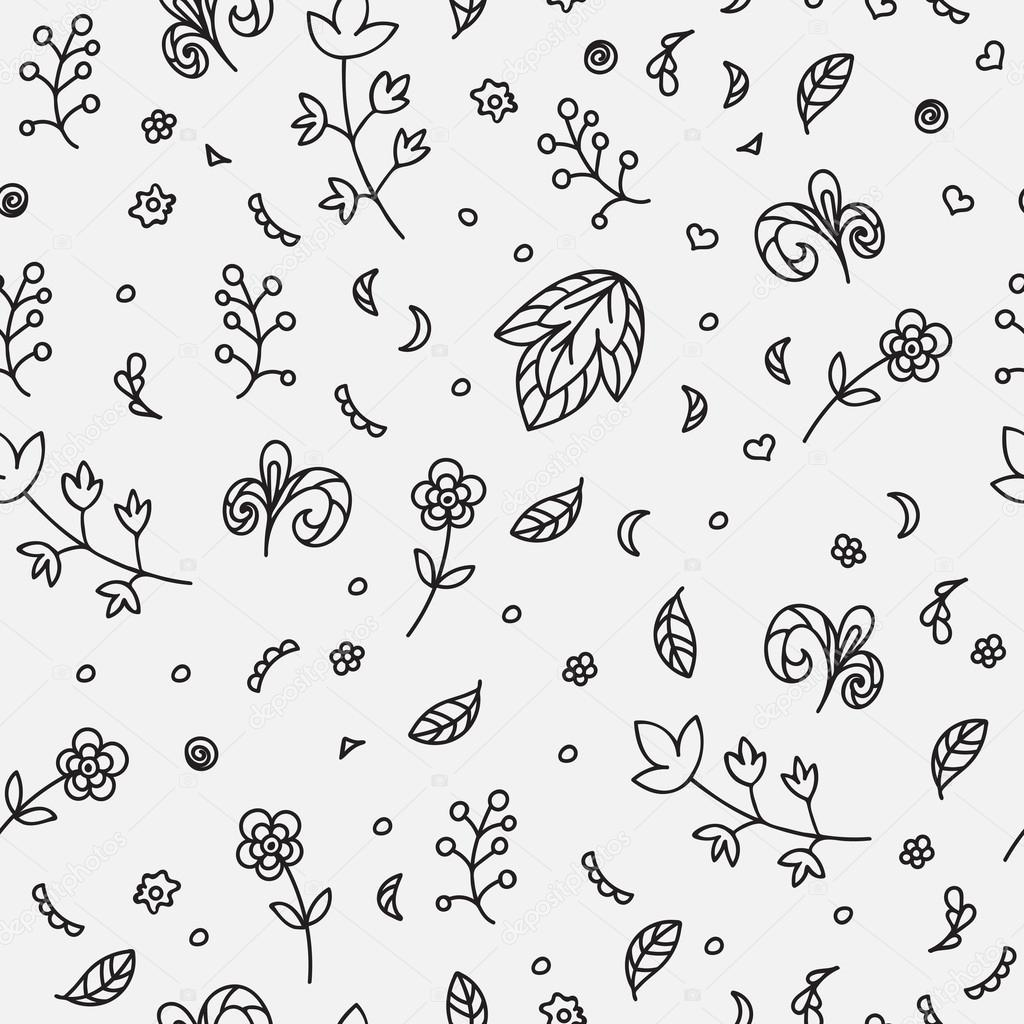 Floral texture. Doodle seamless pattern. Abstract flowers and elements on the light gray background. Vector illustration. Decorative card.