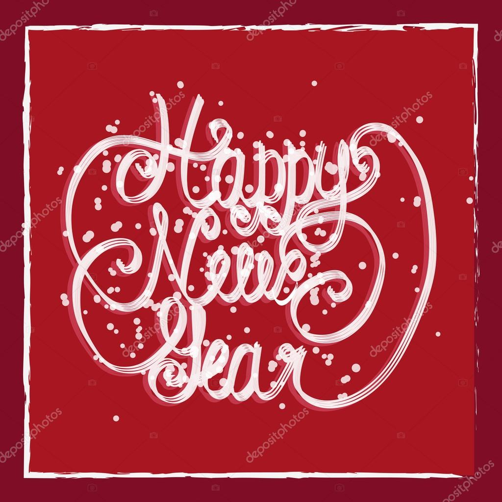 happy new year greeting card hand lettering handmade calligraphy hny logo stock
