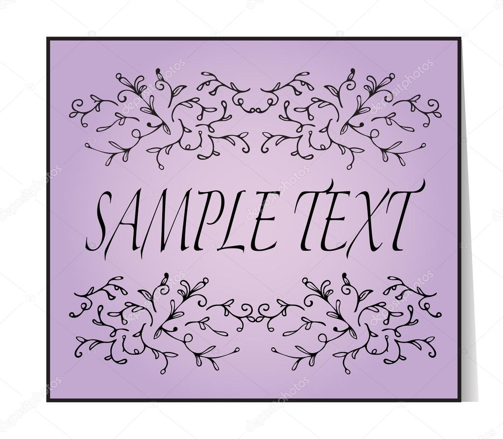 Elegant text frame floral vintage hand drawn vignettes beautiful beautiful banner card invitation or label ornament from twigs purple background place for your text vector illustration vetor por sshisshka stopboris