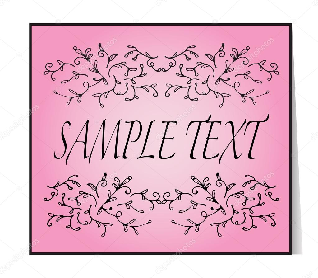 Elegant text frame floral vintage hand drawn vignettes beautiful beautiful banner card invitation or label ornament from twigs pink background place for your text vector illustration vetor por sshisshka stopboris Image collections