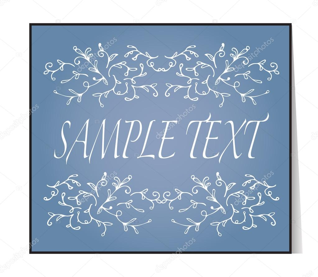 Elegant text frame floral vintage hand drawn vignettes beautiful beautiful banner card invitation or label ornament from twigs blue background place for your text vector illustration vetor por sshisshka stopboris Images
