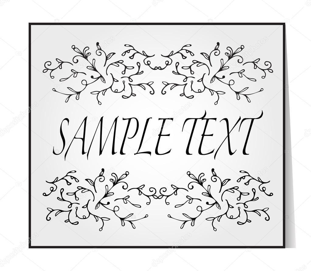 Elegant text frame floral vintage hand drawn vignettes beautiful beautiful banner card invitation or label ornament from twigs gray background place for your text vector illustration vetor por sshisshka stopboris