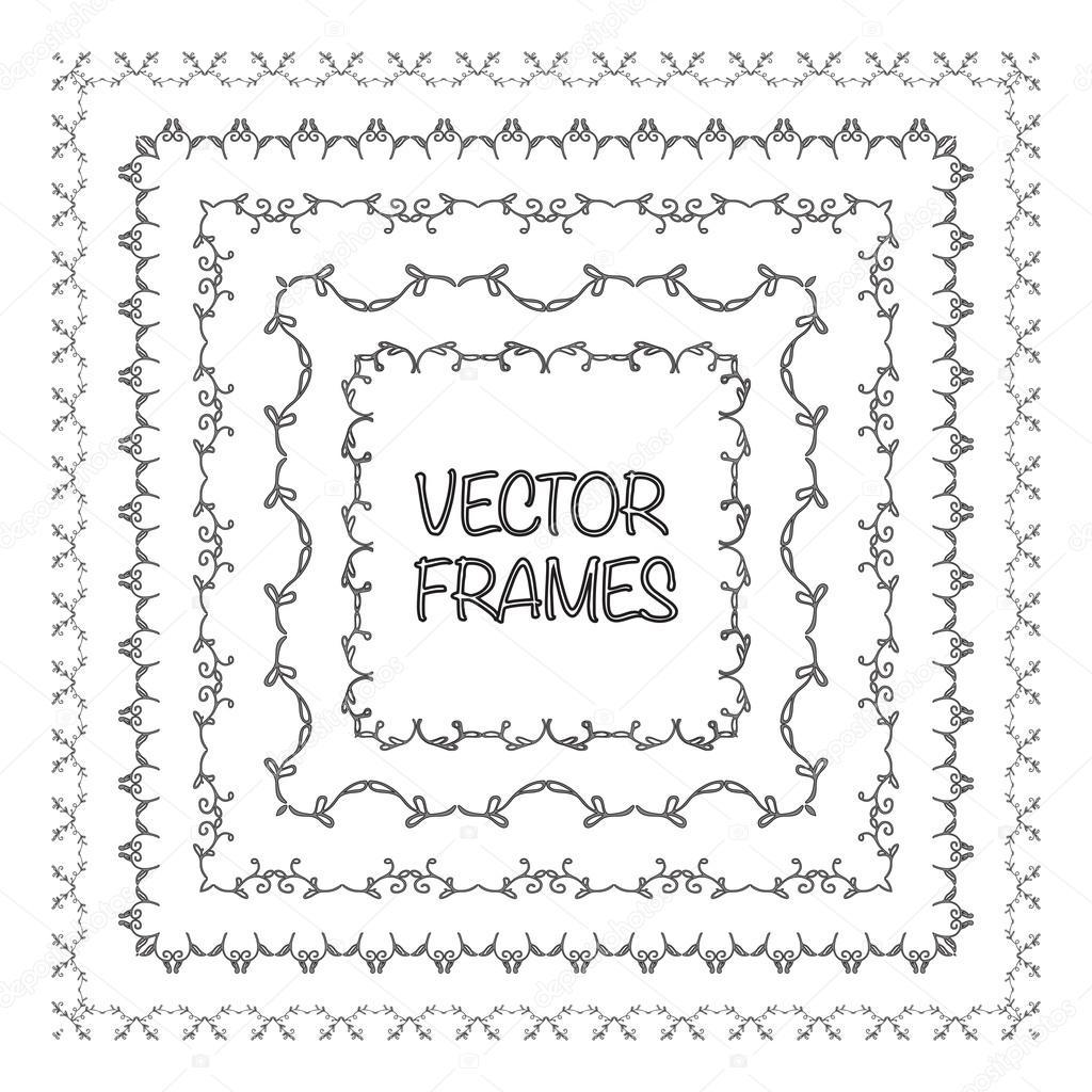 Elegant frame templates. Borders design. Square frames set. Vintage ...