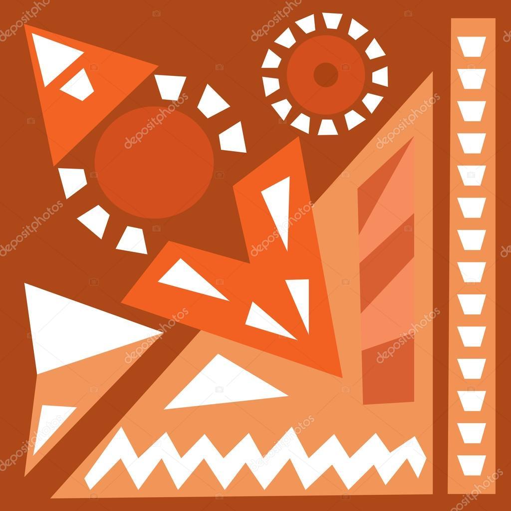 warme farben malerei, auslosung acrylgemälde handsatz. hellen hintergrund. ethnische, Innenarchitektur