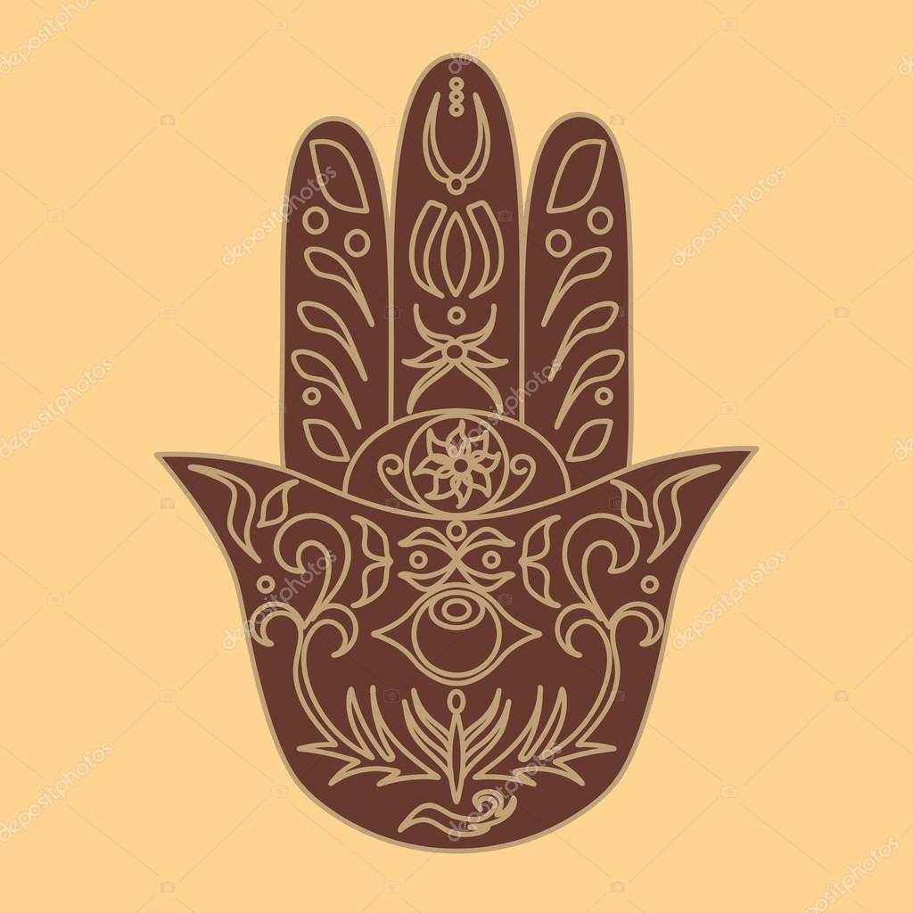 Elegant utsmyckade hand dras Hamsa. Hand av Fatima. Bra lycka och skydd  amulett i indiska dd41dd5872f77