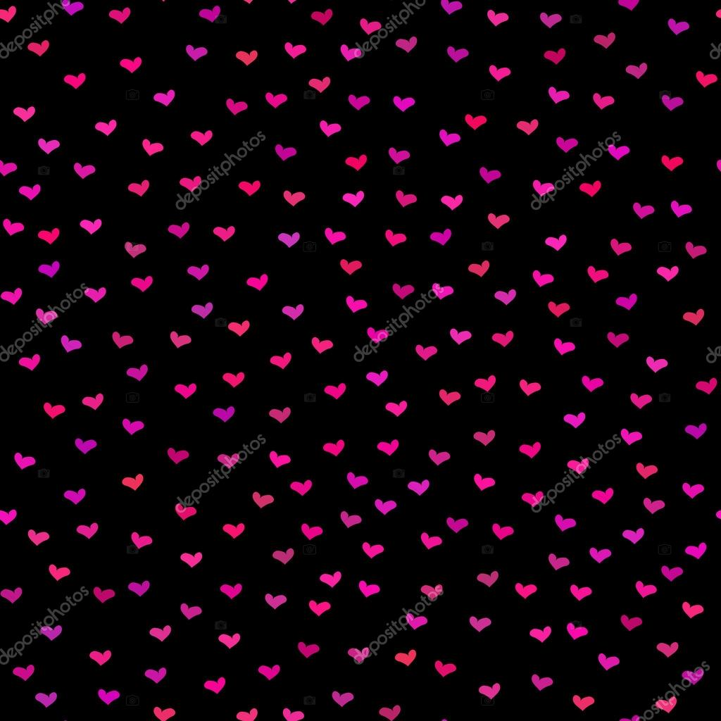 pink Cute black hearts background with