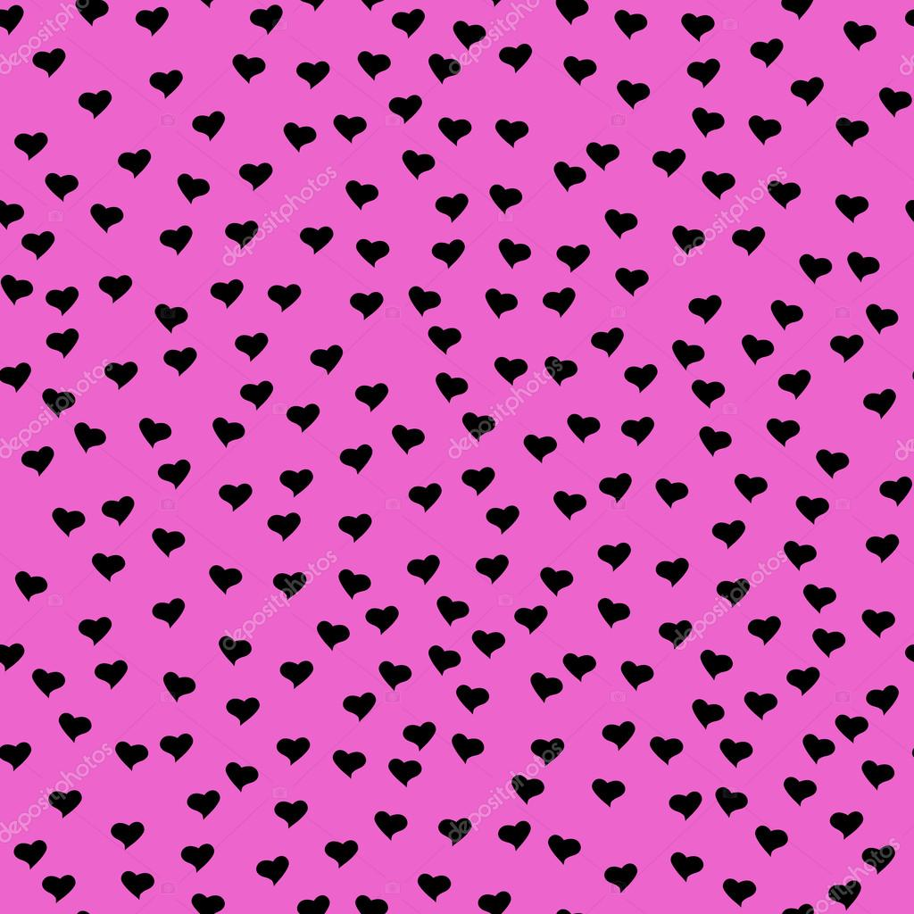pink Cute hearts background black with