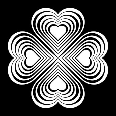 White Celtic heart knot - stylized symbol. Made of hearts. Four-leaf clover. Isolated design element. Black background. Vector illustration.