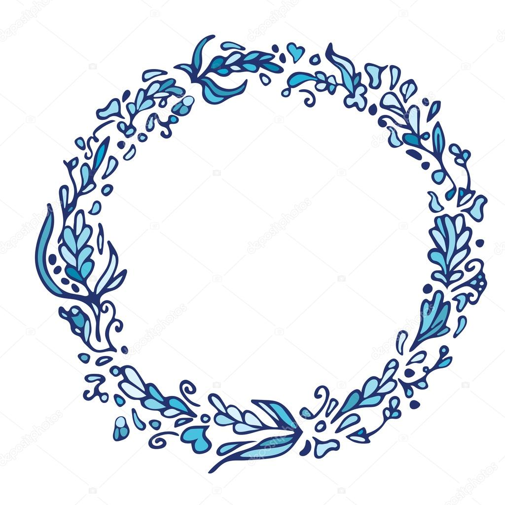 Leaf doodle wreath vintage round blue frame isolated on white vintage round blue frame isolated on white space for your text floral illustrationtemplate for wedding invitation save the date greeting stopboris Image collections