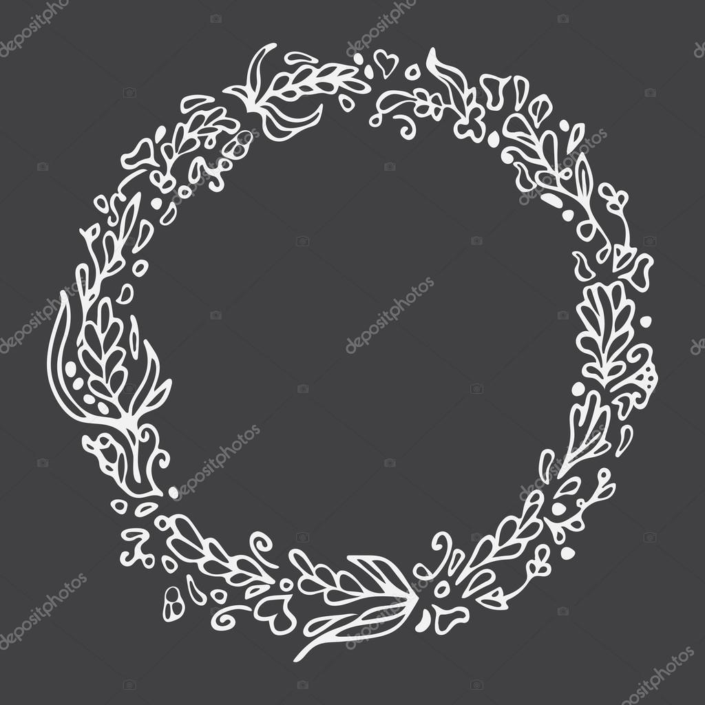 Leaf doodle wreath chalkboard imitation vintage round frame on space for textfloral vector illustrationtemplate for wedding invitation save the dategreeting card decorative element vetor por sshisshka junglespirit Choice Image