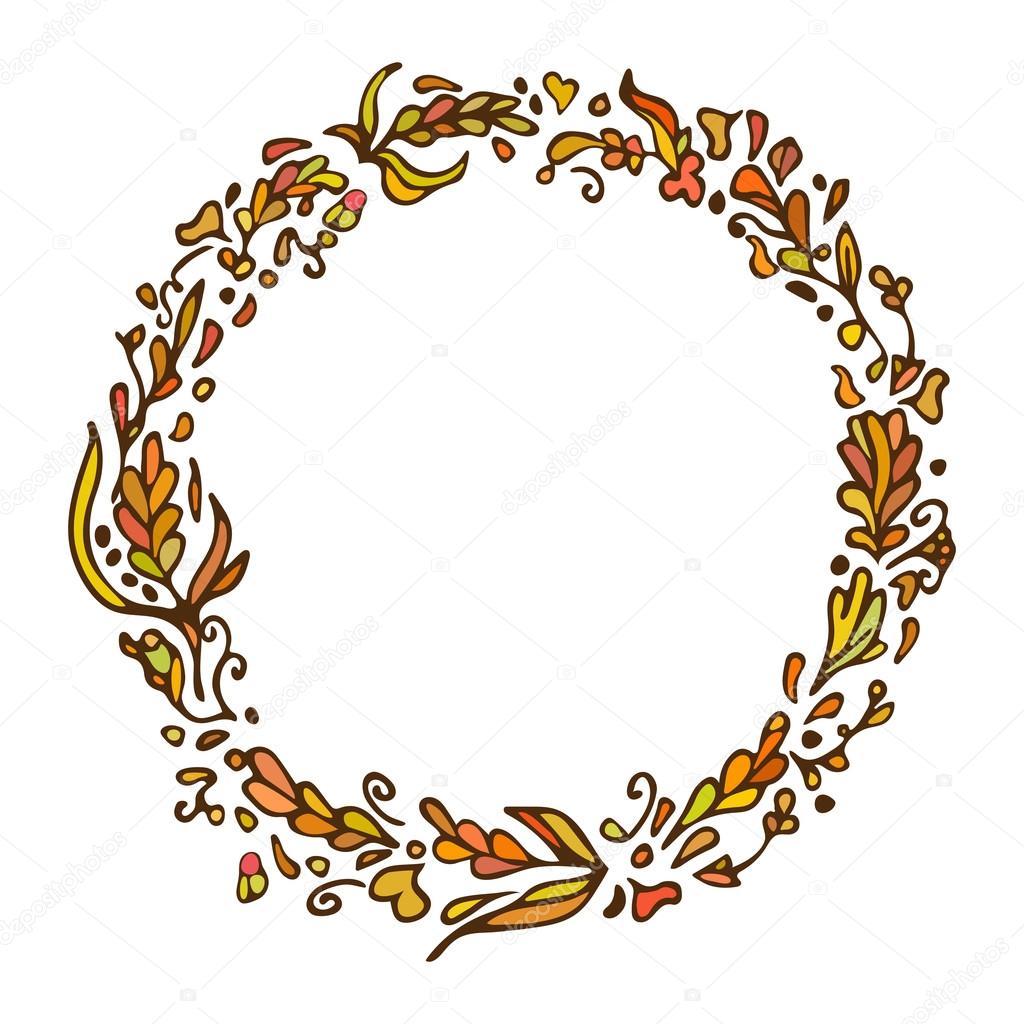Blatt doodle Kranz. Jahrgang runden Rahmen auf weißem Hintergrund ...
