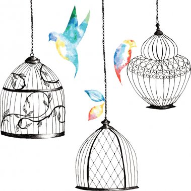 set hand-painted birdcages , birds , leaves, watercolor rainbow