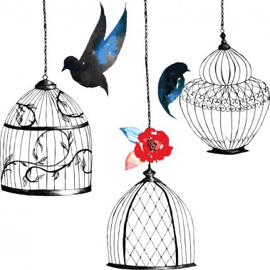 set hand-painted birdcages , birds , leaves, watercolor dark col