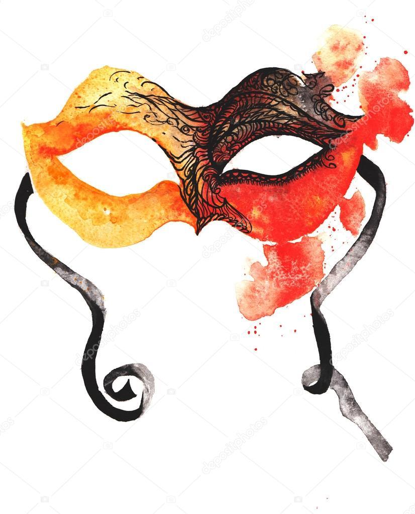 Sulu Boya çizilmiş Karnaval Maskesi Turuncu Kırmızı Kaplı Stok