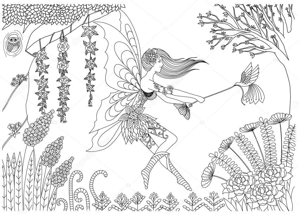 Hadas jugando con aves en el diseño del bosque para colorear libro ...