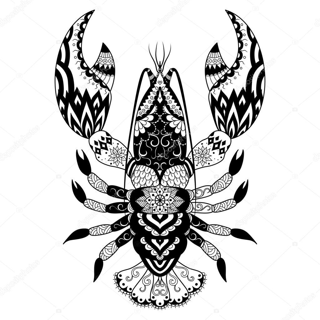 Shirt design book - Lobster Line Art Design For Coloring Book Logo T Shirt Design Tattoo And