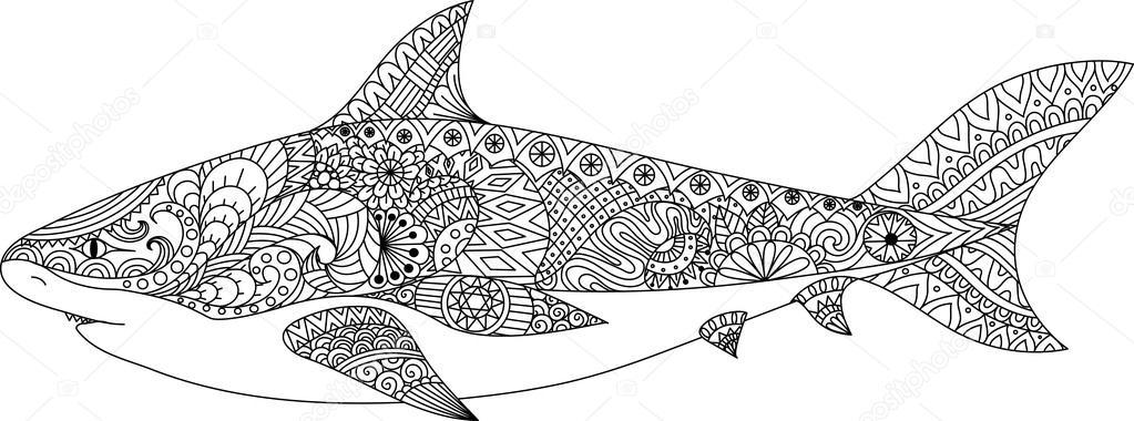 Haai Lijn Kunst Ontwerp Voor De Kleurplaat Boek Voor Volwassene