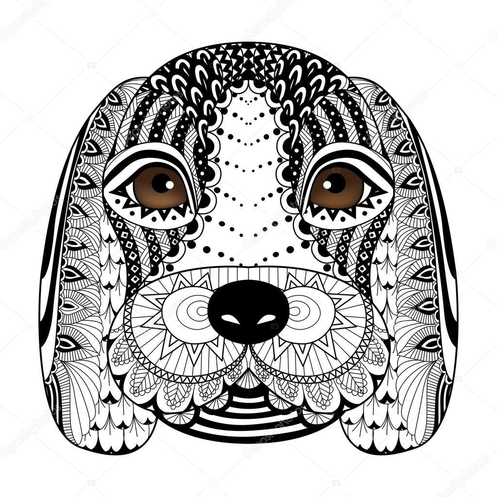 Dessin au trait chiot beagle pour livre de coloriage pour adulte design de t shirt tatouage et - Chiot a colorier ...