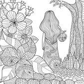 Fényképek a kerti szeszélyes line art kifestőkönyv felnőtt lány