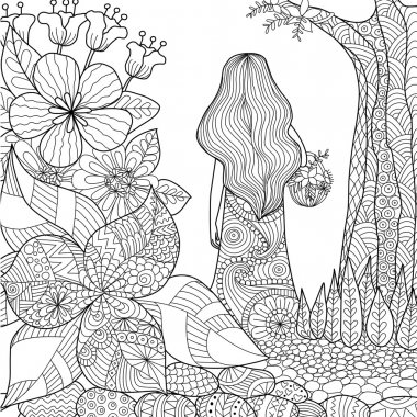 girl in the garden whimsical line art for coloring book for adult