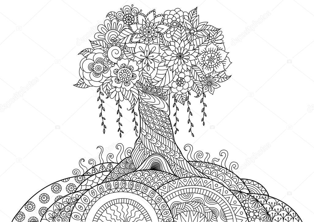 Abstracto árbol en el colina línea arte diseño de libro para ...