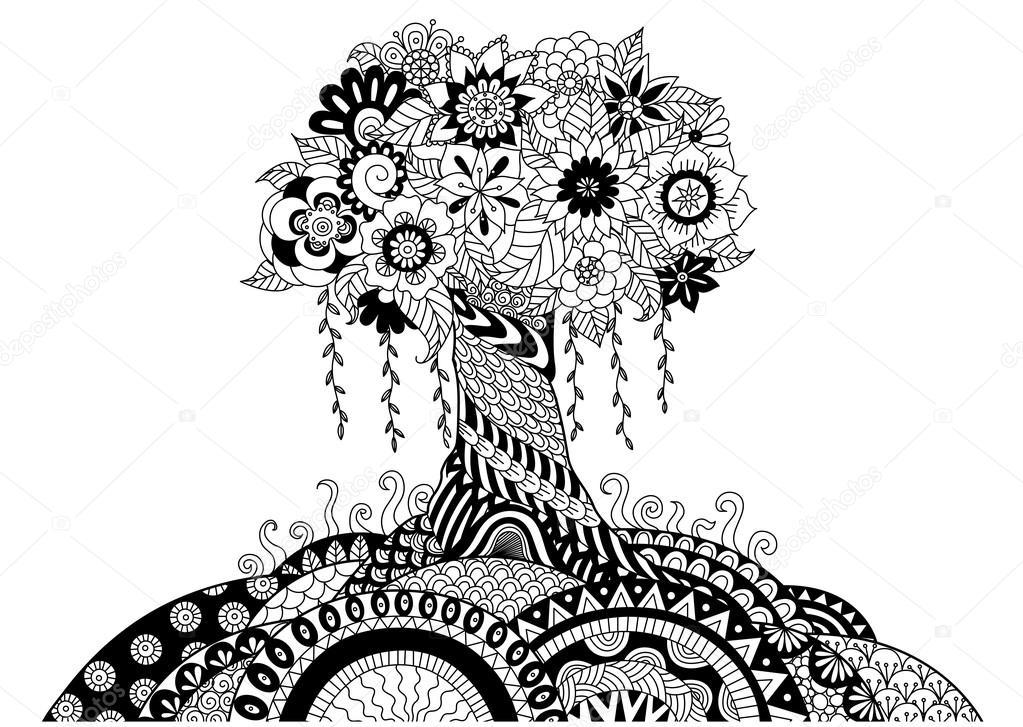 Line Art Design Kft : Diseño de arte caprichosa línea árbol para colorear