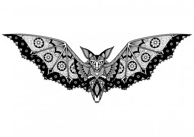 Bat line art design for tattoo, t shirt design, coloring book, and so on
