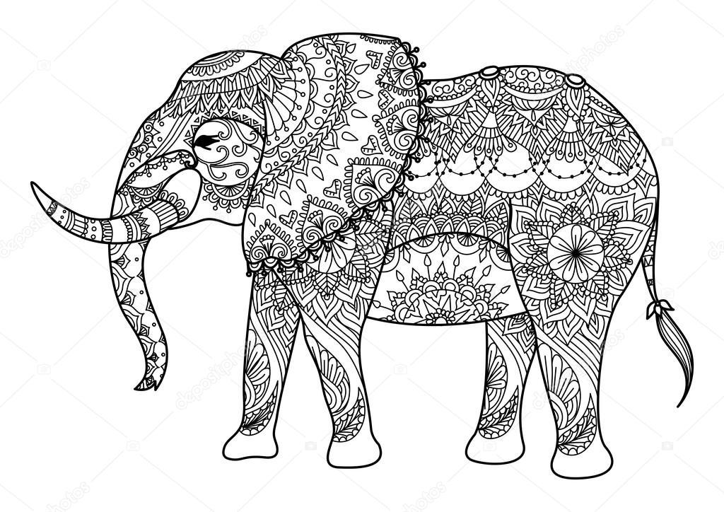 Vector: elefante mandalas | Elefante de Mandala arte lineal — Vector ...