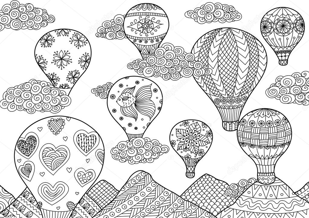 Hot Air Balloon Flying Zentangle Stylized For Coloring Book For
