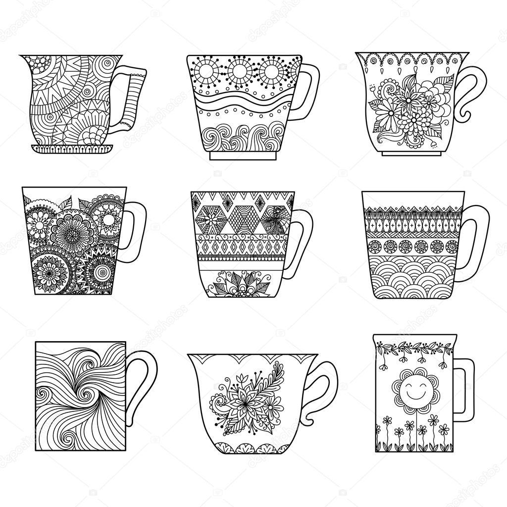 Nueve tazas de té línea diseño de arte para colorear libro para anti ...