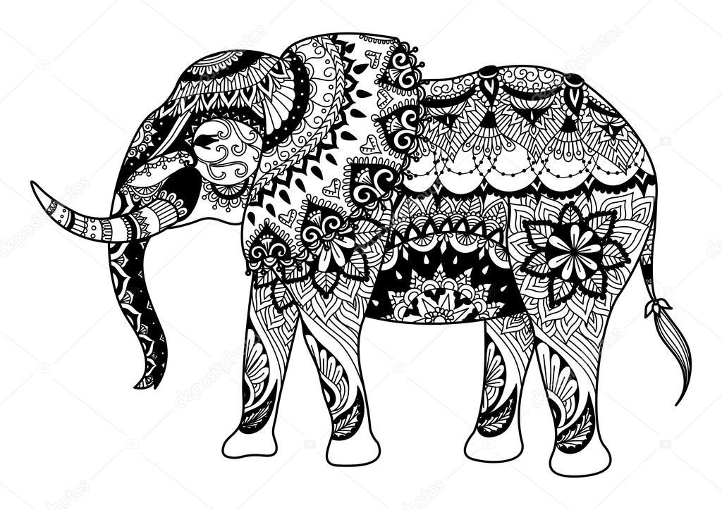 Diseo De Elefantes Mandala Para Tarjetas Tatuaje Diseo De La Camiseta Para Colorear Libro