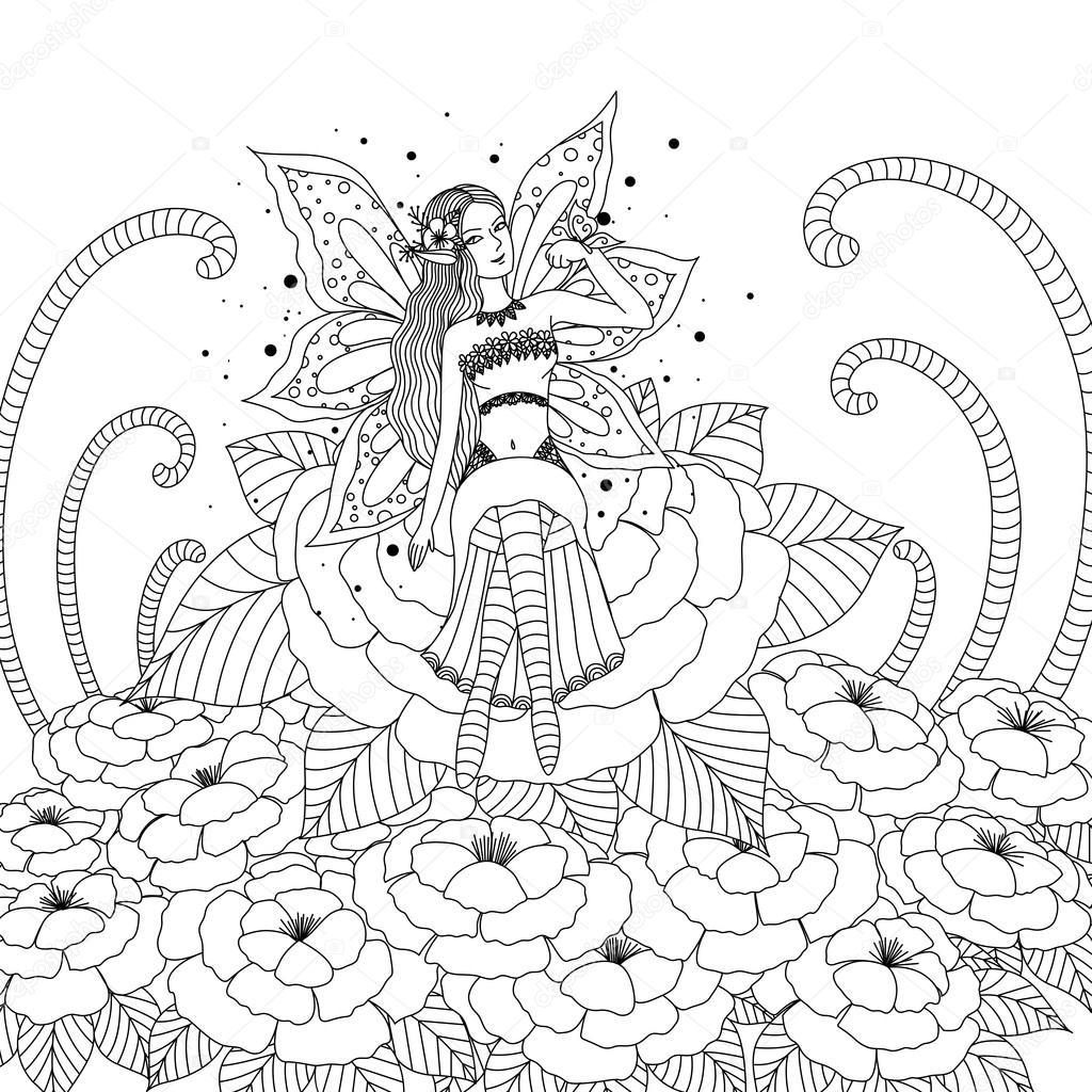 Chica de hadas jugando con mariposa en el diseño de bosque de flores ...