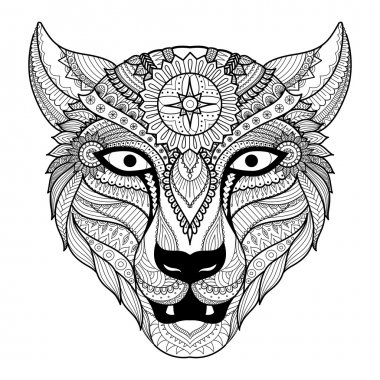 Leopard line art design for coloring book for adult, tattoo, t shirt design and so on