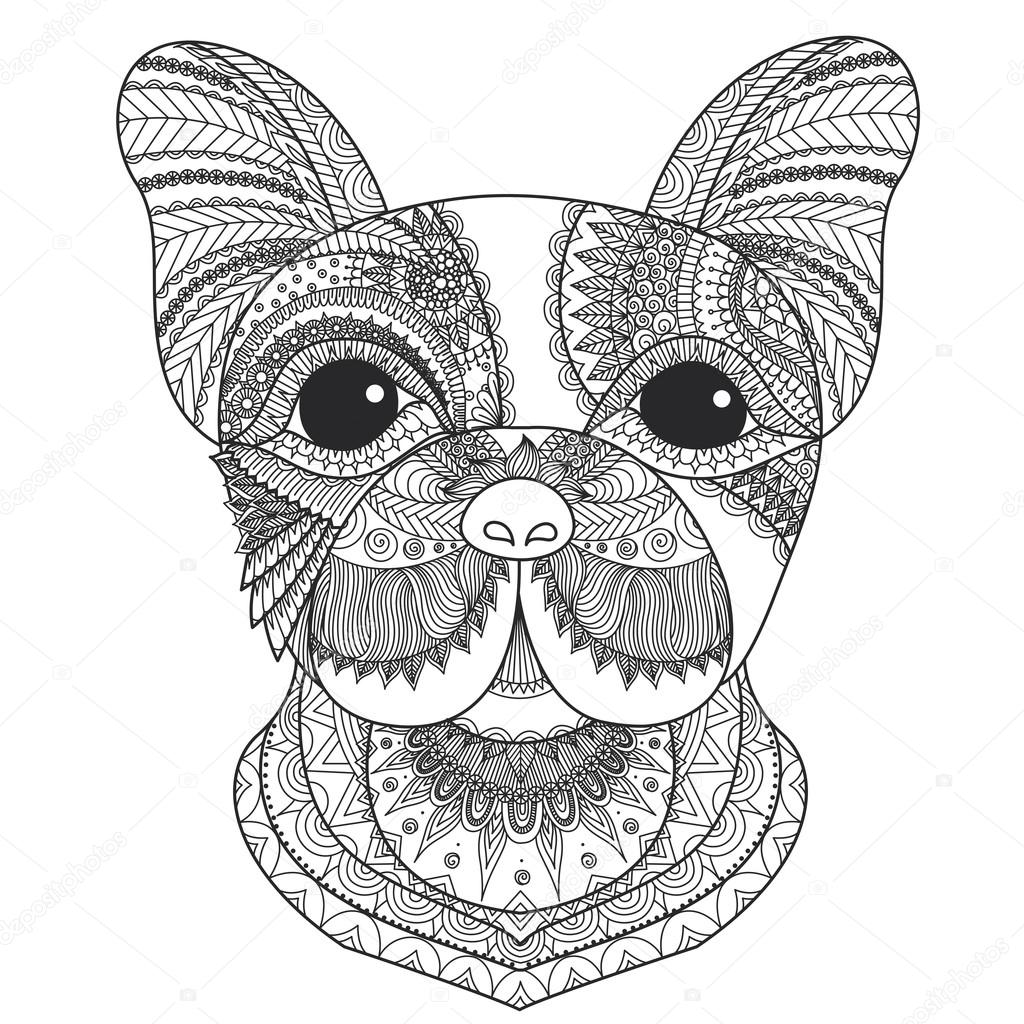 French bulldog puppy zentangle stylized for coloring book for adult ...