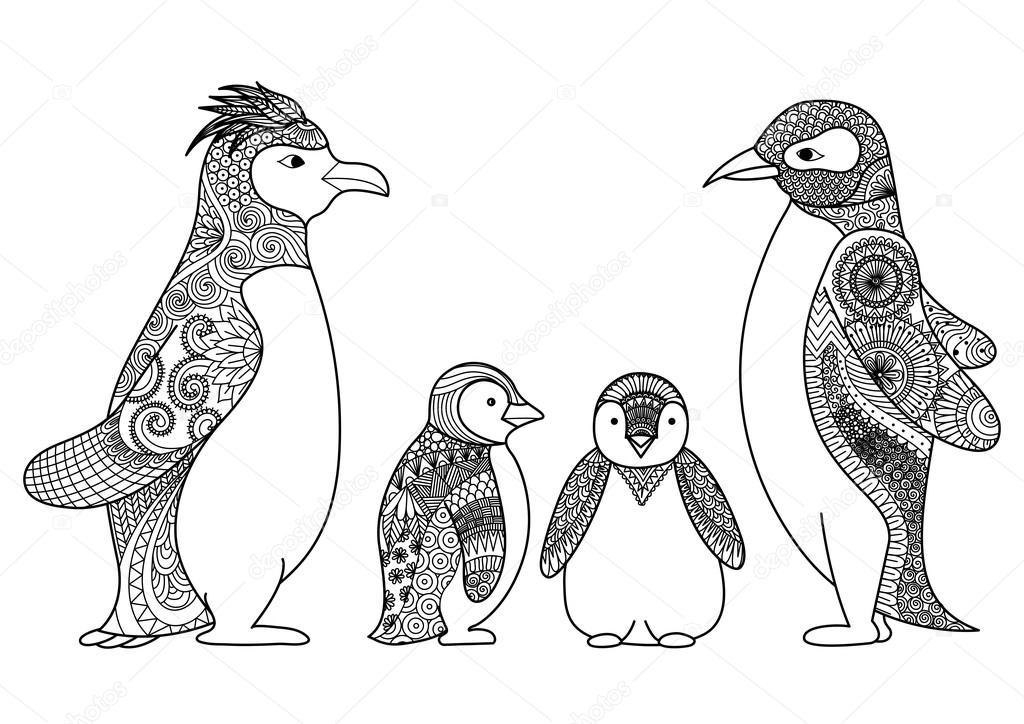 Diseño de arte de línea de la familia de pingüinos para colorear ...